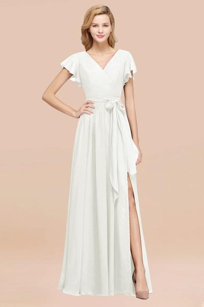 elegant A-line Chiffon V-Neck Short-Sleeves Floor-Length Bridesmaid Dresses with Bow Sash_2