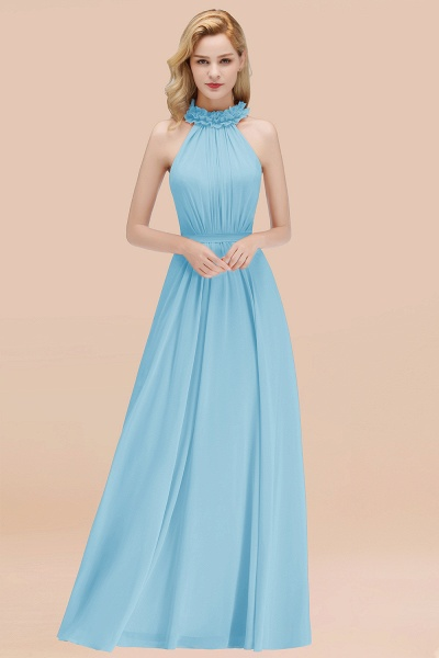 A-line Chiffon Halter Sleeveless Ruffled Floor Length Bridesmaid Dresses_23