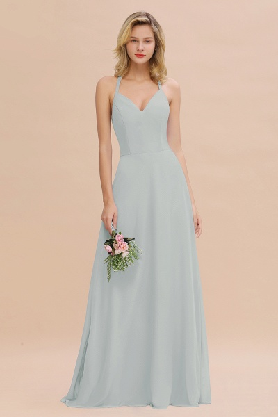 BM0779 Stylish Chiffon Spaghetti Straps Sleeveless Long Bridesmaid Dress_38