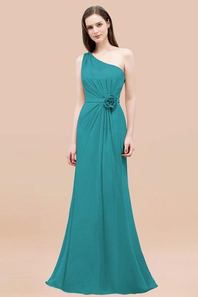 Mermaid Chiffon One-shoulder Sleeveless Ruffled Floor-Length Bridesmaid Dresses with Flower_32