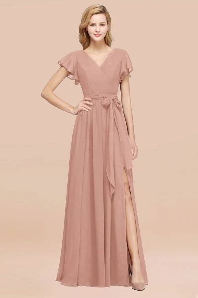 elegant A-line Chiffon V-Neck Short-Sleeves Floor-Length Bridesmaid Dresses with Bow Sash_6