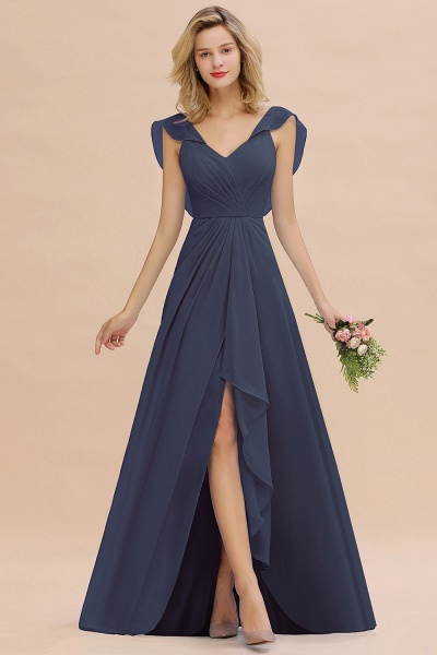 BM0777 Simple Hi-Lo V-Neck Ruffles Long Bridesmaid Dress_39