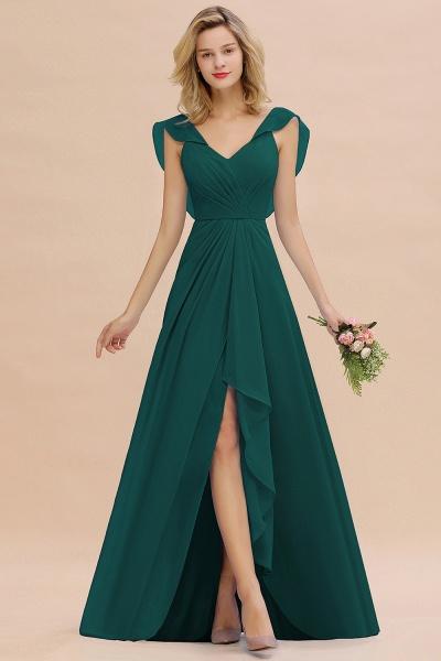 BM0777 Simple Hi-Lo V-Neck Ruffles Long Bridesmaid Dress_33