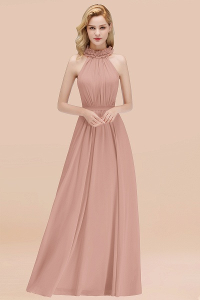 A-line Chiffon Halter Sleeveless Ruffled Floor Length Bridesmaid Dresses_6