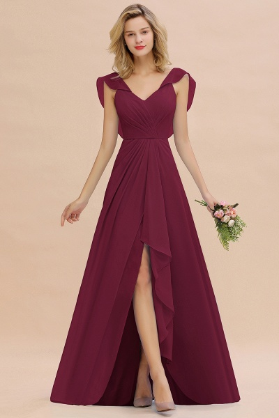 BM0777 Simple Hi-Lo V-Neck Ruffles Long Bridesmaid Dress_44