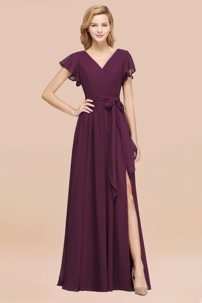 elegant A-line Chiffon V-Neck Short-Sleeves Floor-Length Bridesmaid Dresses with Bow Sash_20