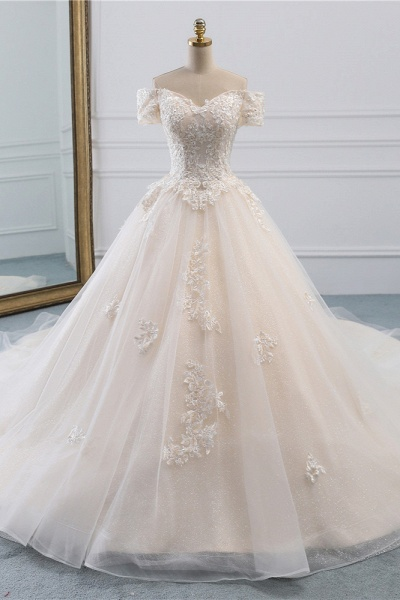 Long Princess Off-the-Shoulder Tulle Wedding Dress with Appliques Lace