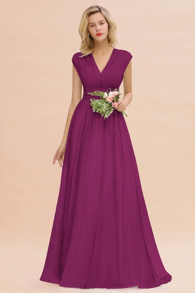 BM0774 Chiffon V-Neck Sleeveless Elegant A-line Ruffles Bridesmaid Dress_42