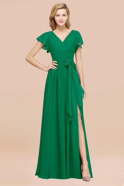 elegant A-line Chiffon V-Neck Short-Sleeves Floor-Length Bridesmaid Dresses with Bow Sash_49