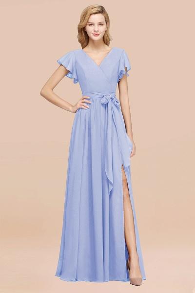 elegant A-line Chiffon V-Neck Short-Sleeves Floor-Length Bridesmaid Dresses with Bow Sash_22