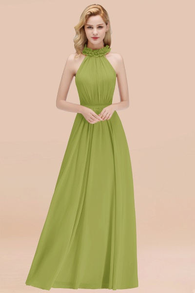 A-line Chiffon Halter Sleeveless Ruffled Floor Length Bridesmaid Dresses_34
