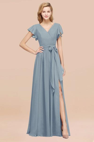elegant A-line Chiffon V-Neck Short-Sleeves Floor-Length Bridesmaid Dresses with Bow Sash_40