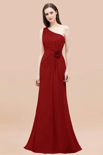 Mermaid Chiffon One-shoulder Sleeveless Ruffled Floor-Length Bridesmaid Dresses with Flower_48