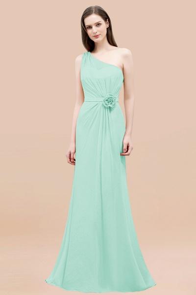 Mermaid Chiffon One-shoulder Sleeveless Ruffled Floor-Length Bridesmaid Dresses with Flower_36