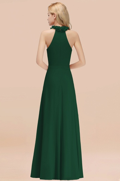 Halter A-line Floor Length Sleeveless Ruffled Chiffon Bridesmaid Dresses_35