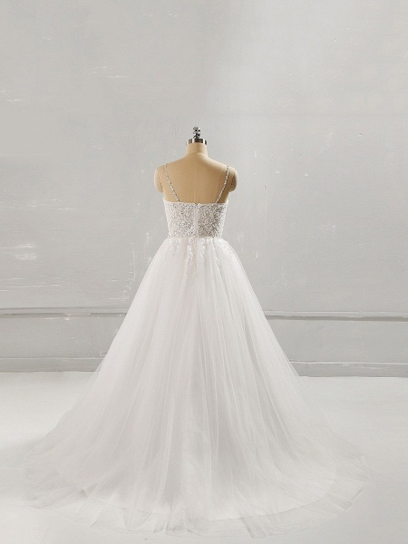 Sweetheart Neck Long Lace Top White Long Wedding Dress_2