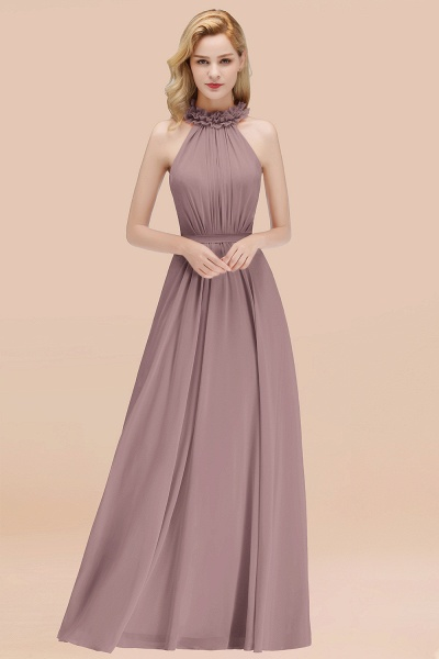 A-line Chiffon Halter Sleeveless Ruffled Floor Length Bridesmaid Dresses_37