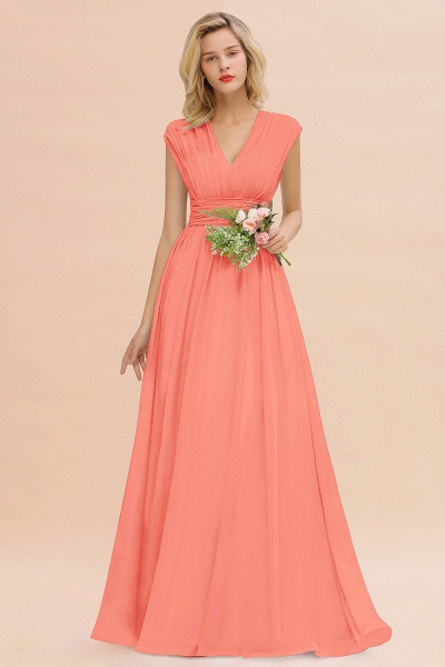 BM0774 Chiffon V-Neck Sleeveless Elegant A-line Ruffles Bridesmaid Dress_45
