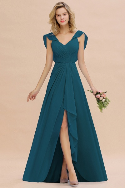 BM0777 Simple Hi-Lo V-Neck Ruffles Long Bridesmaid Dress_27