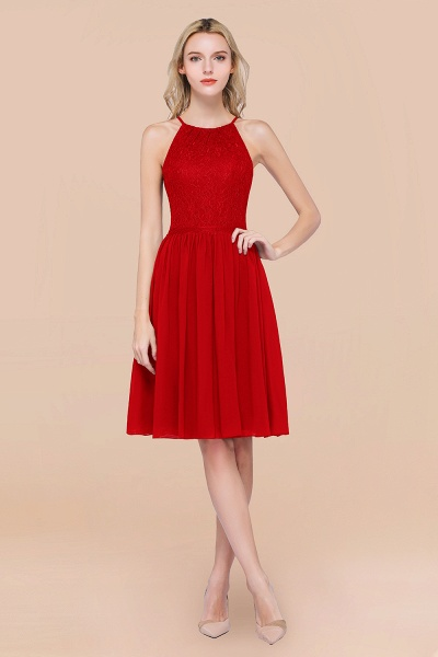 A-line Chiffon Lace Jewel Sleeveless Knee-Length Bridesmaid Dresses with Ruffles_8
