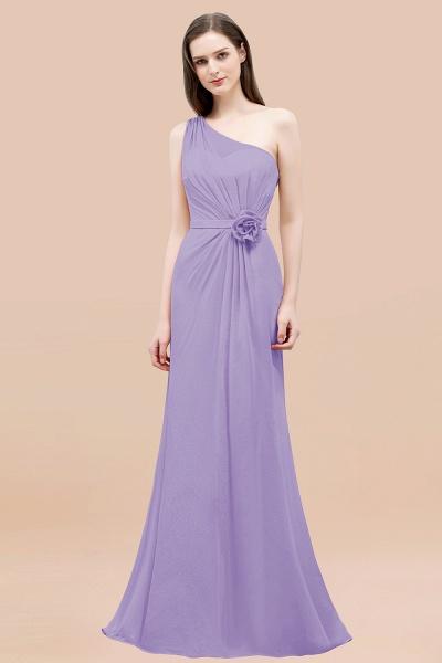 Mermaid Chiffon One-shoulder Sleeveless Ruffled Floor-Length Bridesmaid Dresses with Flower_21