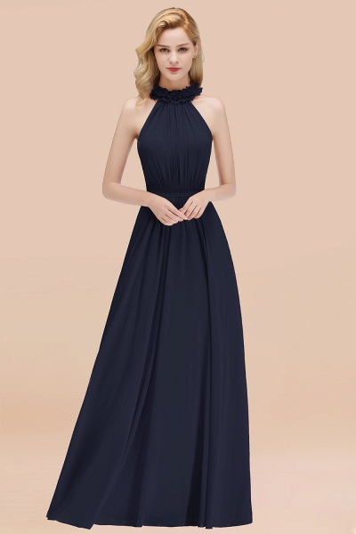 A-line Chiffon Halter Sleeveless Ruffled Floor Length Bridesmaid Dresses_28