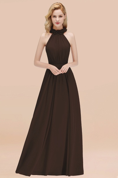 A-line Chiffon Halter Sleeveless Ruffled Floor Length Bridesmaid Dresses_11