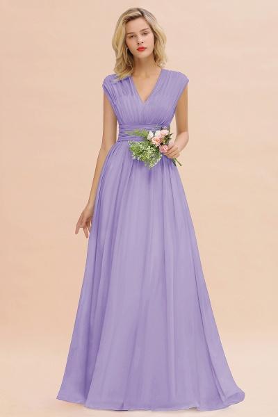 BM0774 Chiffon V-Neck Sleeveless Elegant A-line Ruffles Bridesmaid Dress_21
