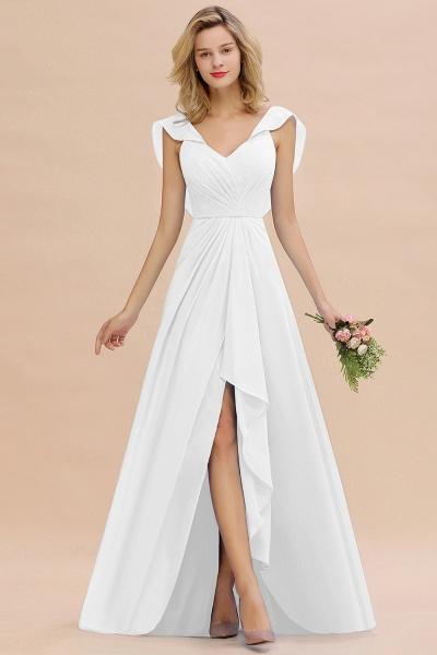BM0777 Simple Hi-Lo V-Neck Ruffles Long Bridesmaid Dress_1