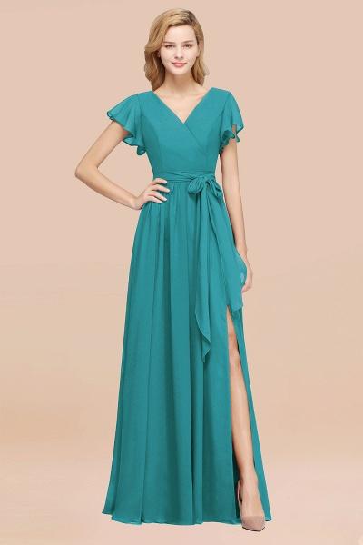 elegant A-line Chiffon V-Neck Short-Sleeves Floor-Length Bridesmaid Dresses with Bow Sash_32