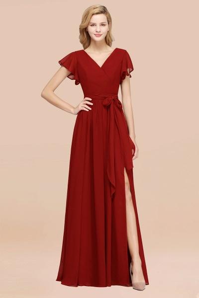elegant A-line Chiffon V-Neck Short-Sleeves Floor-Length Bridesmaid Dresses with Bow Sash_48