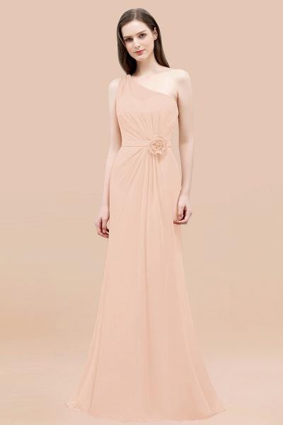 Mermaid Chiffon One-shoulder Sleeveless Ruffled Floor-Length Bridesmaid Dresses with Flower_5