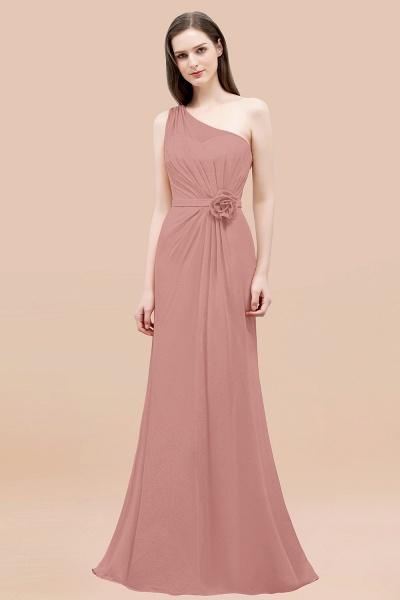 Mermaid Chiffon One-shoulder Sleeveless Ruffled Floor-Length Bridesmaid Dresses with Flower_50