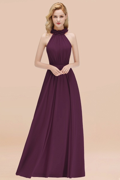 A-line Chiffon Halter Sleeveless Ruffled Floor Length Bridesmaid Dresses_20