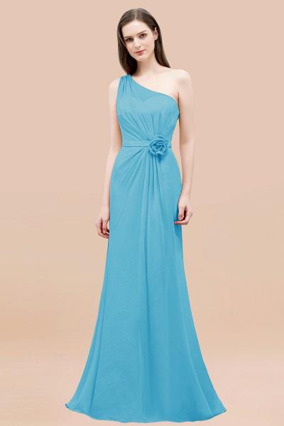 Mermaid Chiffon One-shoulder Sleeveless Ruffled Floor-Length Bridesmaid Dresses with Flower_24