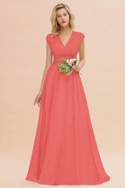 BM0774 Chiffon V-Neck Sleeveless Elegant A-line Ruffles Bridesmaid Dress_7
