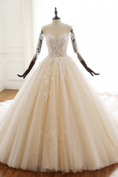 Chic Long Ball Gowns Sweetheart Tulle Lace Wedding Dress with Sleeves