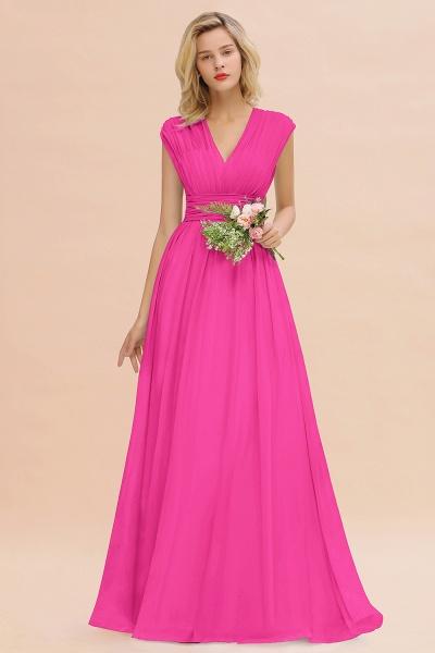 BM0774 Chiffon V-Neck Sleeveless Elegant A-line Ruffles Bridesmaid Dress_9