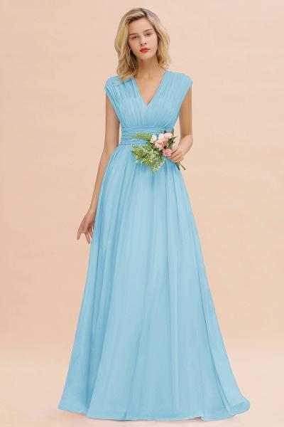 BM0774 Chiffon V-Neck Sleeveless Elegant A-line Ruffles Bridesmaid Dress_23