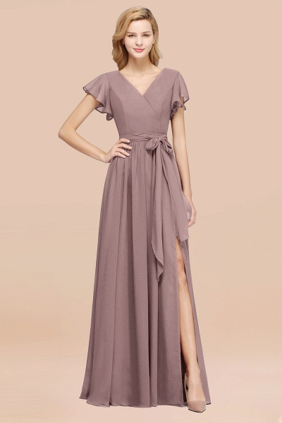 elegant A-line Chiffon V-Neck Short-Sleeves Floor-Length Bridesmaid Dresses with Bow Sash_37
