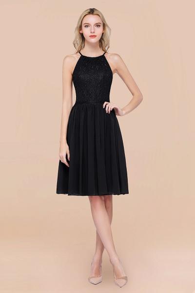 A-line Chiffon Lace Jewel Sleeveless Knee-Length Bridesmaid Dresses with Ruffles_29