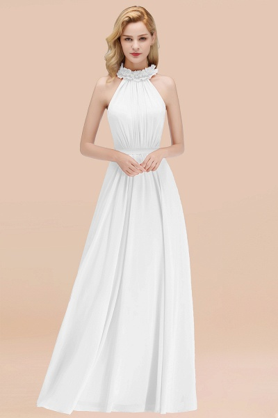 A-line Chiffon Halter Sleeveless Ruffled Floor Length Bridesmaid Dresses_1