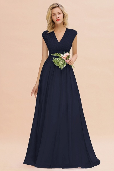 BM0774 Chiffon V-Neck Sleeveless Elegant A-line Ruffles Bridesmaid Dress_28