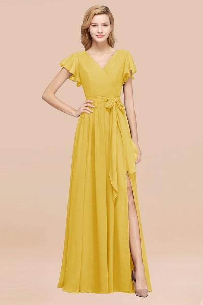 elegant A-line Chiffon V-Neck Short-Sleeves Floor-Length Bridesmaid Dresses with Bow Sash_17