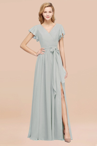elegant A-line Chiffon V-Neck Short-Sleeves Floor-Length Bridesmaid Dresses with Bow Sash_38