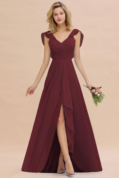 BM0777 Simple Hi-Lo V-Neck Ruffles Long Bridesmaid Dress_10