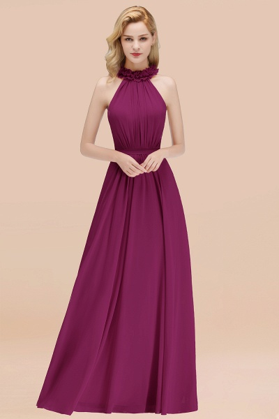 A-line Chiffon Halter Sleeveless Ruffled Floor Length Bridesmaid Dresses_42