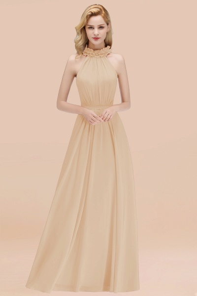 A-line Chiffon Halter Sleeveless Ruffled Floor Length Bridesmaid Dresses_14
