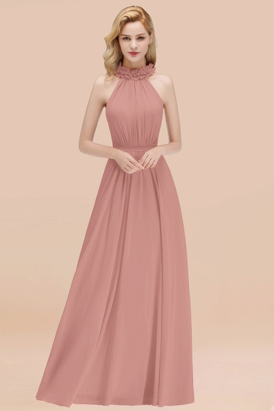 A-line Chiffon Halter Sleeveless Ruffled Floor Length Bridesmaid Dresses_50