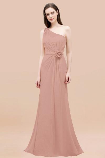 Mermaid Chiffon One-shoulder Sleeveless Ruffled Floor-Length Bridesmaid Dresses with Flower_6